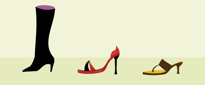 Piirros kolmesta eri naisten kenkätyypistä; saappaista, korkokengistä ja slippereistä